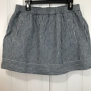 J. Crew pinstripe blue and cream skirt size large